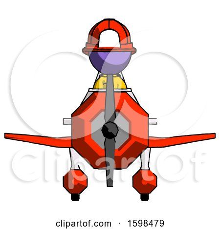 Purple Firefighter Fireman Man in Geebee Stunt Plane Front View by Leo Blanchette
