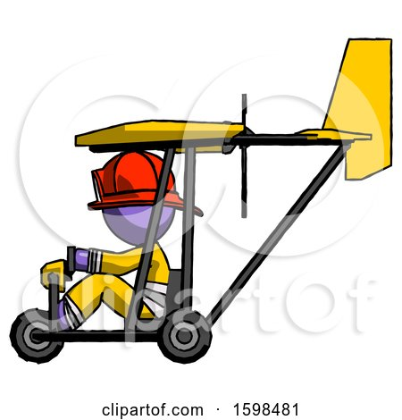 Purple Firefighter Fireman Man in Ultralight Aircraft Side View by Leo Blanchette