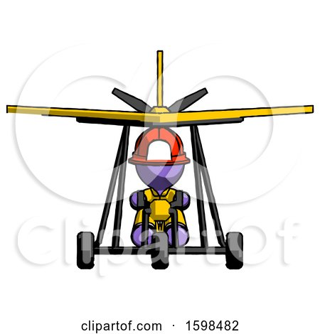 Purple Firefighter Fireman Man in Ultralight Aircraft Front View by Leo Blanchette