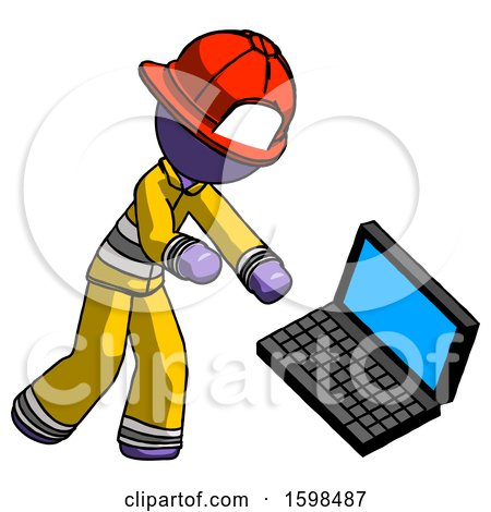 Purple Firefighter Fireman Man Throwing Laptop Computer in Frustration by Leo Blanchette