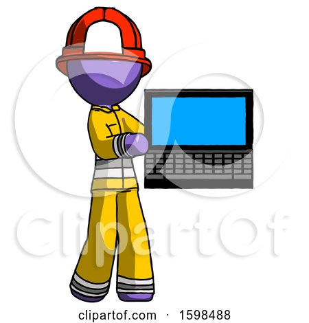 Purple Firefighter Fireman Man Holding Laptop Computer Presenting Something on Screen by Leo Blanchette