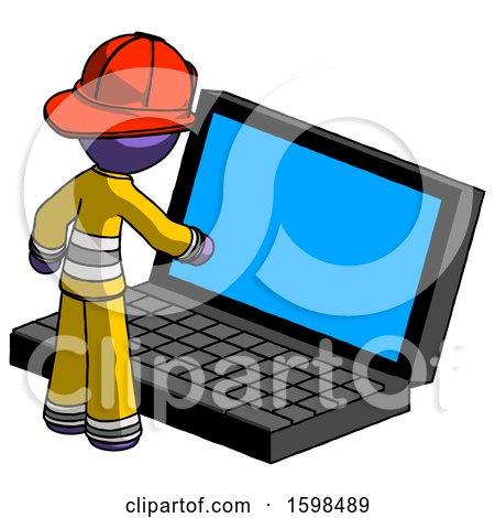Purple Firefighter Fireman Man Using Large Laptop Computer by Leo Blanchette
