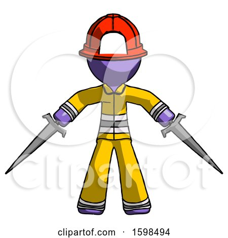 Purple Firefighter Fireman Man Two Sword Defense Pose by Leo Blanchette