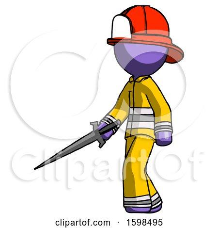 Purple Firefighter Fireman Man with Sword Walking Confidently by Leo Blanchette