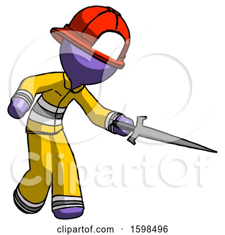 Purple Firefighter Fireman Man Sword Pose Stabbing or Jabbing by Leo Blanchette
