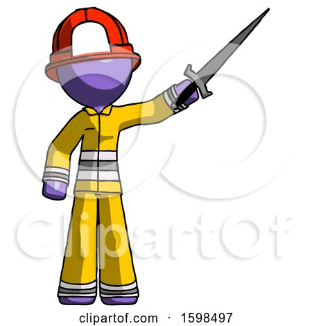 Purple Firefighter Fireman Man Holding Sword in the Air Victoriously by Leo Blanchette