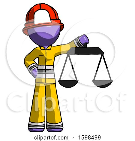Purple Firefighter Fireman Man Holding Scales of Justice by Leo Blanchette