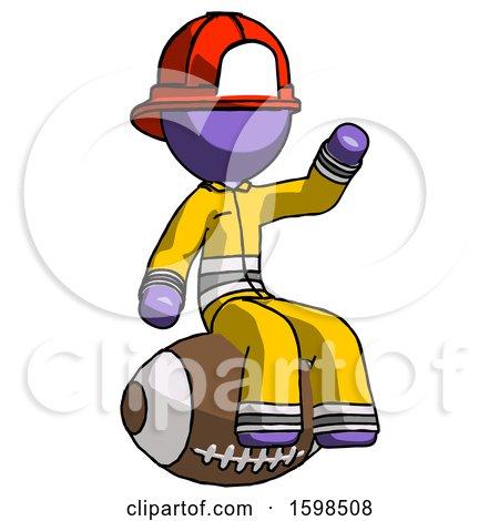 Purple Firefighter Fireman Man Sitting on Giant Football by Leo Blanchette