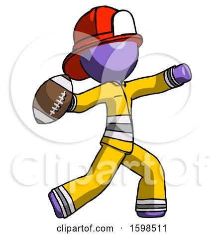 Purple Firefighter Fireman Man Throwing Football by Leo Blanchette
