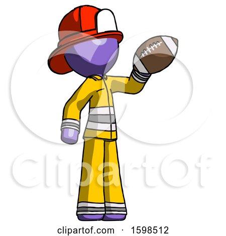 Purple Firefighter Fireman Man Holding Football up by Leo Blanchette