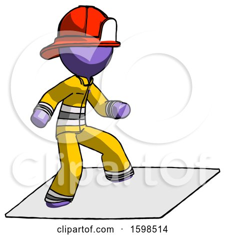Purple Firefighter Fireman Man on Postage Envelope Surfing by Leo Blanchette