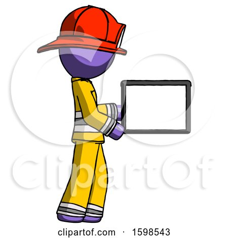 Purple Firefighter Fireman Man Show Tablet Device Computer to Viewer, Blank Area by Leo Blanchette