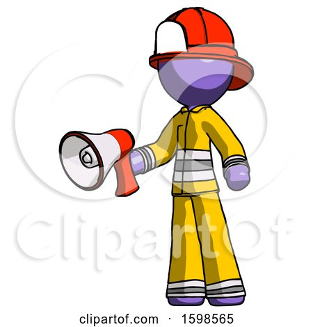 Purple Firefighter Fireman Man Holding Megaphone Bullhorn Facing Right by Leo Blanchette