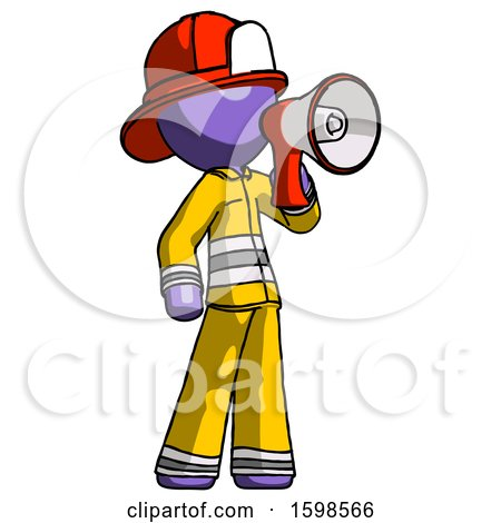 Purple Firefighter Fireman Man Shouting into Megaphone Bullhorn Facing Right by Leo Blanchette