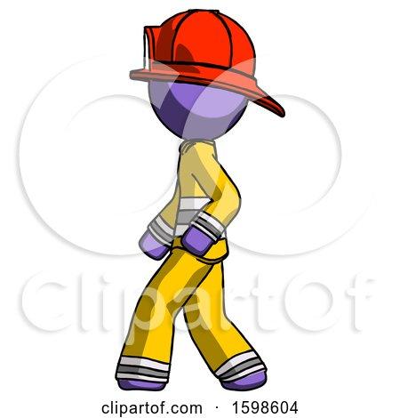 Purple Firefighter Fireman Man Walking Left Side View by Leo Blanchette