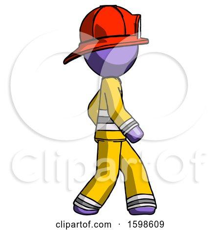 Purple Firefighter Fireman Man Walking Right Side View by Leo Blanchette