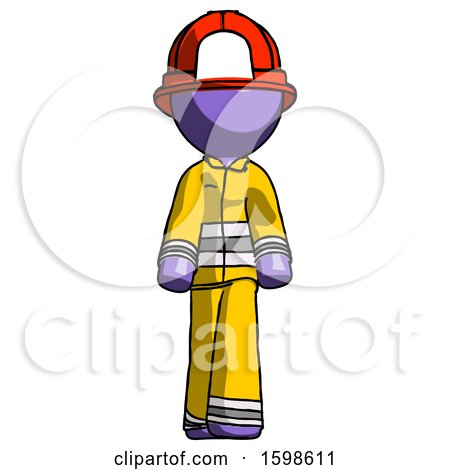 Purple Firefighter Fireman Man Walking Front View by Leo Blanchette