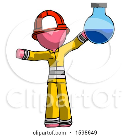 Pink Firefighter Fireman Man Holding Large Round Flask or Beaker by Leo Blanchette