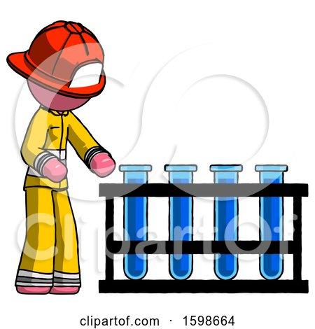 Pink Firefighter Fireman Man Using Test Tubes or Vials on Rack by Leo Blanchette