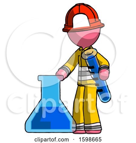 Pink Firefighter Fireman Man Holding Test Tube Beside Beaker or Flask by Leo Blanchette