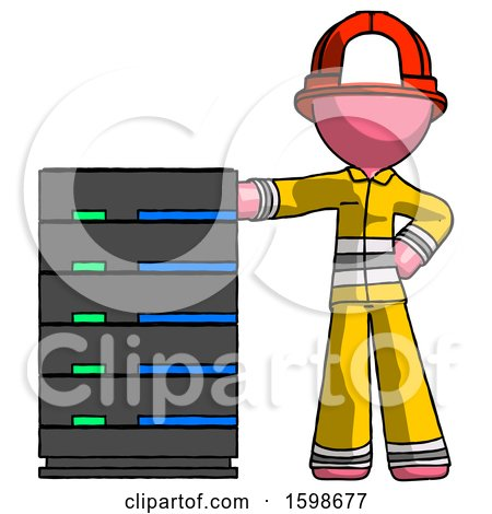 Pink Firefighter Fireman Man with Server Rack Leaning Confidently Against It by Leo Blanchette