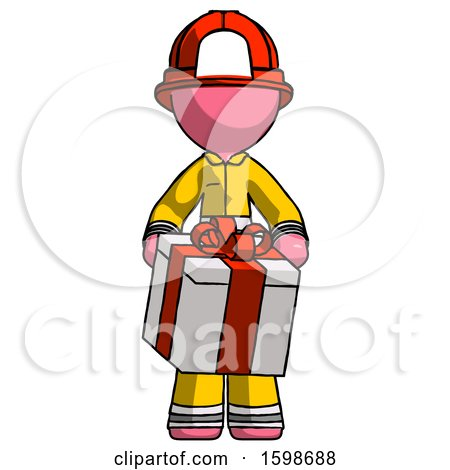 Pink Firefighter Fireman Man Gifting Present with Large Bow Front View by Leo Blanchette