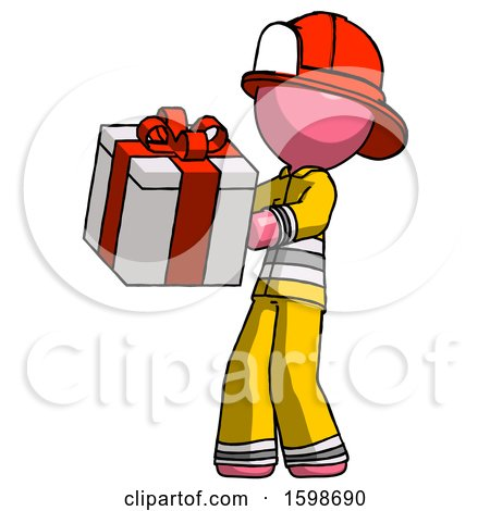 Pink Firefighter Fireman Man Presenting a Present with Large Red Bow on It by Leo Blanchette