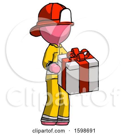Pink Firefighter Fireman Man Giving a Present by Leo Blanchette