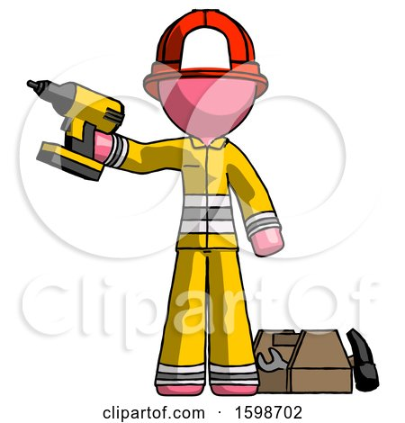 Pink Firefighter Fireman Man Holding Drill Ready to Work, Toolchest and Tools to Right by Leo Blanchette