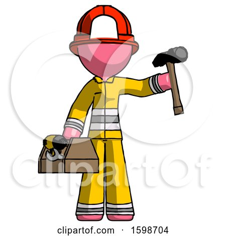 Pink Firefighter Fireman Man Holding Tools and Toolchest Ready to Work by Leo Blanchette