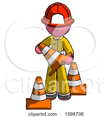 Pink Firefighter Fireman Man Holding a Traffic Cone by Leo Blanchette