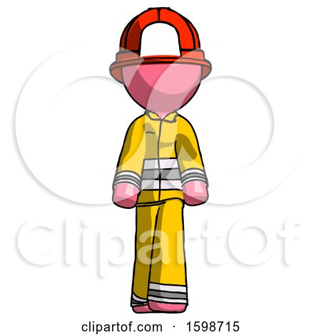 Pink Firefighter Fireman Man Walking Front View by Leo Blanchette