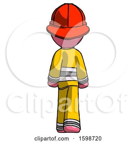 Pink Firefighter Fireman Man Walking Away, Back View by Leo Blanchette