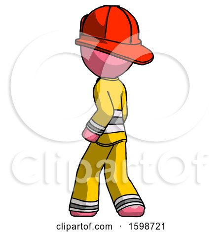 Pink Firefighter Fireman Man Walking Away Direction Left View by Leo Blanchette