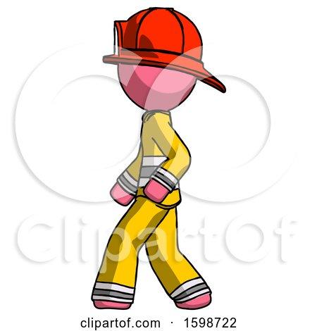 Pink Firefighter Fireman Man Walking Left Side View by Leo Blanchette