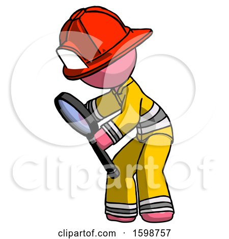 Pink Firefighter Fireman Man Inspecting with Large Magnifying Glass Left by Leo Blanchette