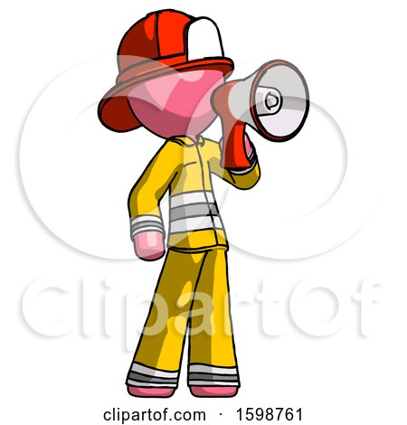 Pink Firefighter Fireman Man Shouting into Megaphone Bullhorn Facing Right by Leo Blanchette