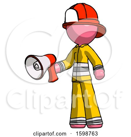 Pink Firefighter Fireman Man Holding Megaphone Bullhorn Facing Right by Leo Blanchette