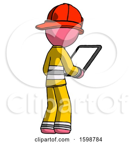 Pink Firefighter Fireman Man Looking at Tablet Device Computer Facing Away by Leo Blanchette