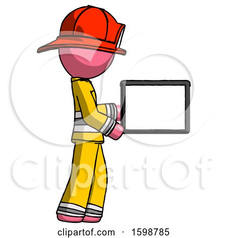 Pink Firefighter Fireman Man Show Tablet Device Computer to Viewer, Blank Area by Leo Blanchette