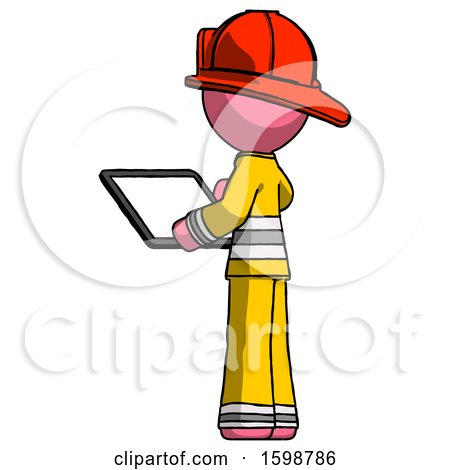 Pink Firefighter Fireman Man Looking at Tablet Device Computer with Back to Viewer by Leo Blanchette