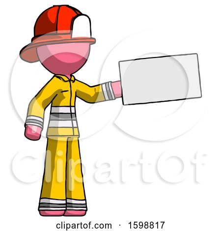 Pink Firefighter Fireman Man Holding Large Envelope by Leo Blanchette