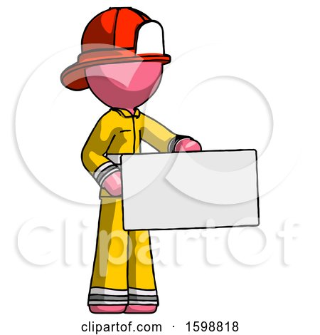 Pink Firefighter Fireman Man Presenting Large Envelope by Leo Blanchette