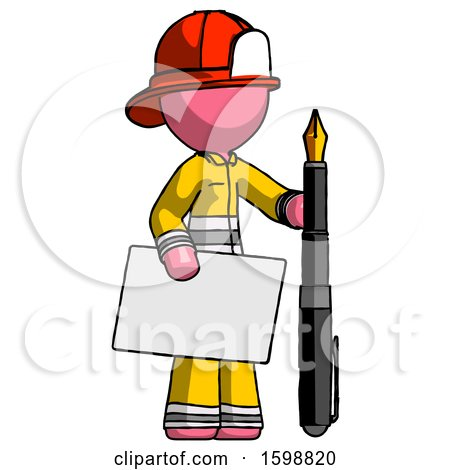 Pink Firefighter Fireman Man Holding Large Envelope and Calligraphy Pen by Leo Blanchette
