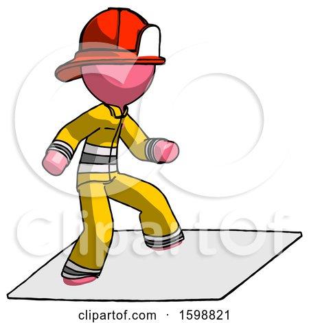 Pink Firefighter Fireman Man on Postage Envelope Surfing by Leo Blanchette