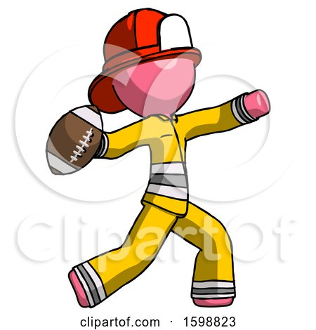 Pink Firefighter Fireman Man Throwing Football by Leo Blanchette