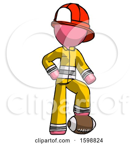 Pink Firefighter Fireman Man Standing with Foot on Football by Leo Blanchette