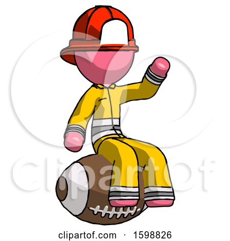 Pink Firefighter Fireman Man Sitting on Giant Football by Leo Blanchette