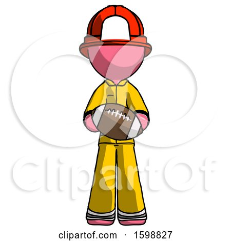 Pink Firefighter Fireman Man Giving Football to You by Leo Blanchette