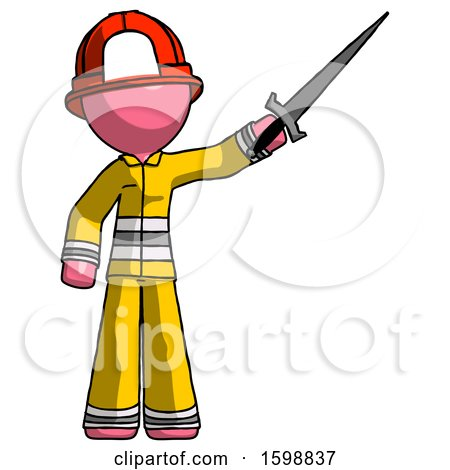 Pink Firefighter Fireman Man Holding Sword in the Air Victoriously by Leo Blanchette